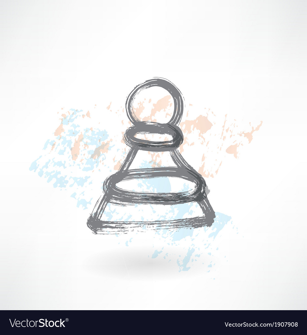 Chess pawn grunge icon vector | Price: 1 Credit (USD $1)