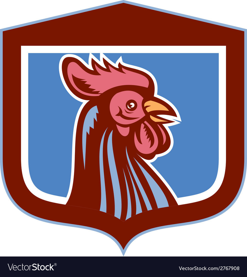 Chicken rooster head side view shield retro vector | Price: 1 Credit (USD $1)