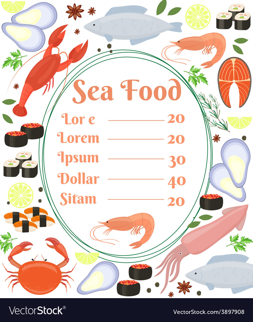 Colorful seafood menu poster vector | Price: 1 Credit (USD $1)