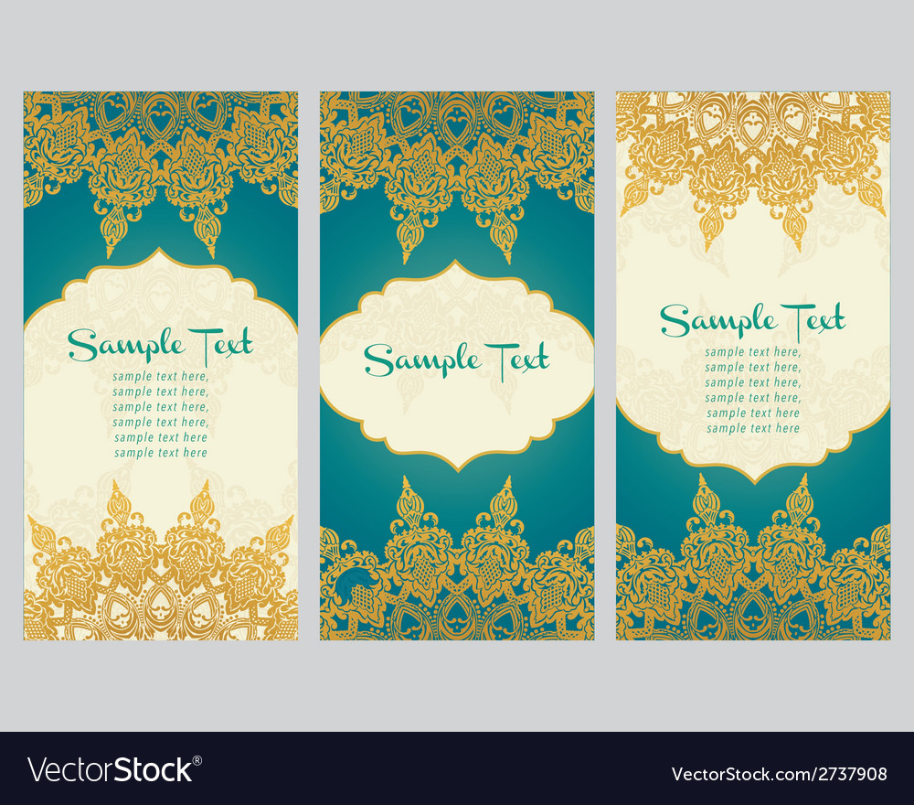 Greeting cards in east style on blue background vector | Price: 1 Credit (USD $1)