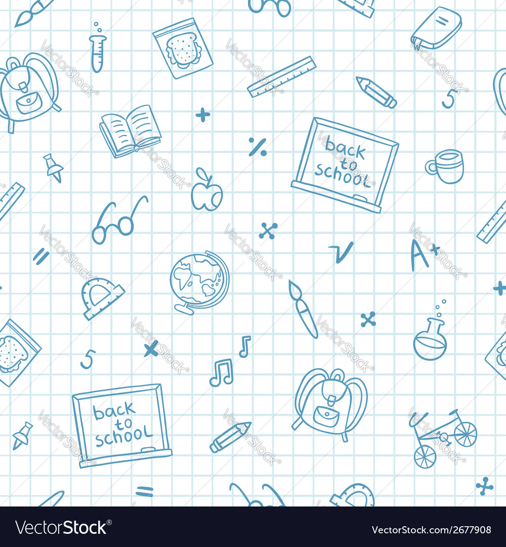School doodle pattern on a notebook paper vector | Price: 1 Credit (USD $1)