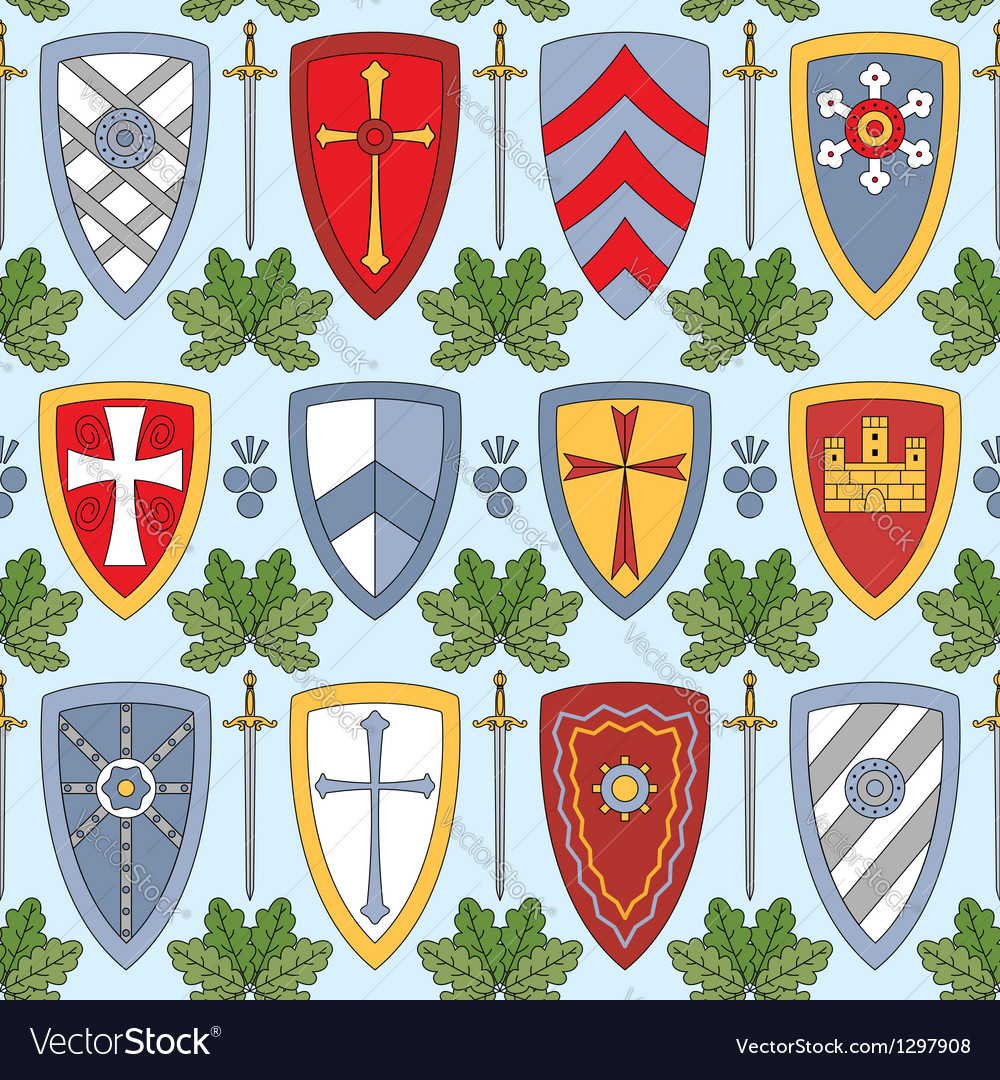 Seamless pattern with knightly shields vector