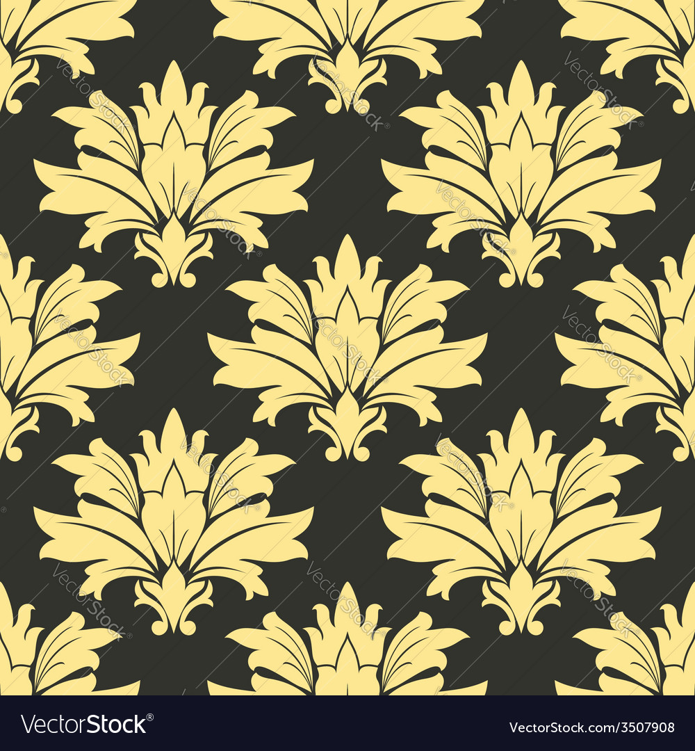 Styled yellow flowers in seamless decor vector | Price: 1 Credit (USD $1)
