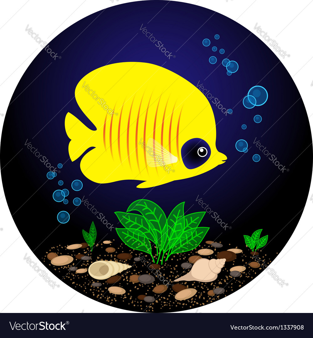 Tropical yellow fish is swimming under water vector | Price: 1 Credit (USD $1)
