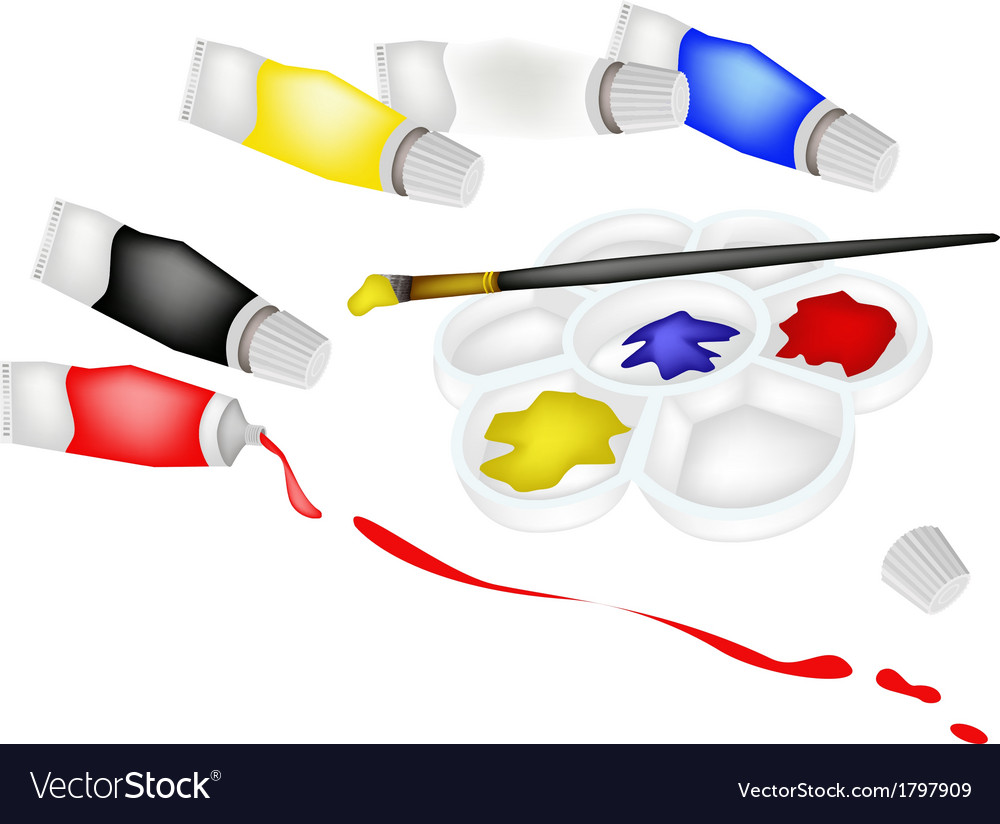 Color paint tube in palette with artist brush vector   Price: 1 Credit (USD $1)