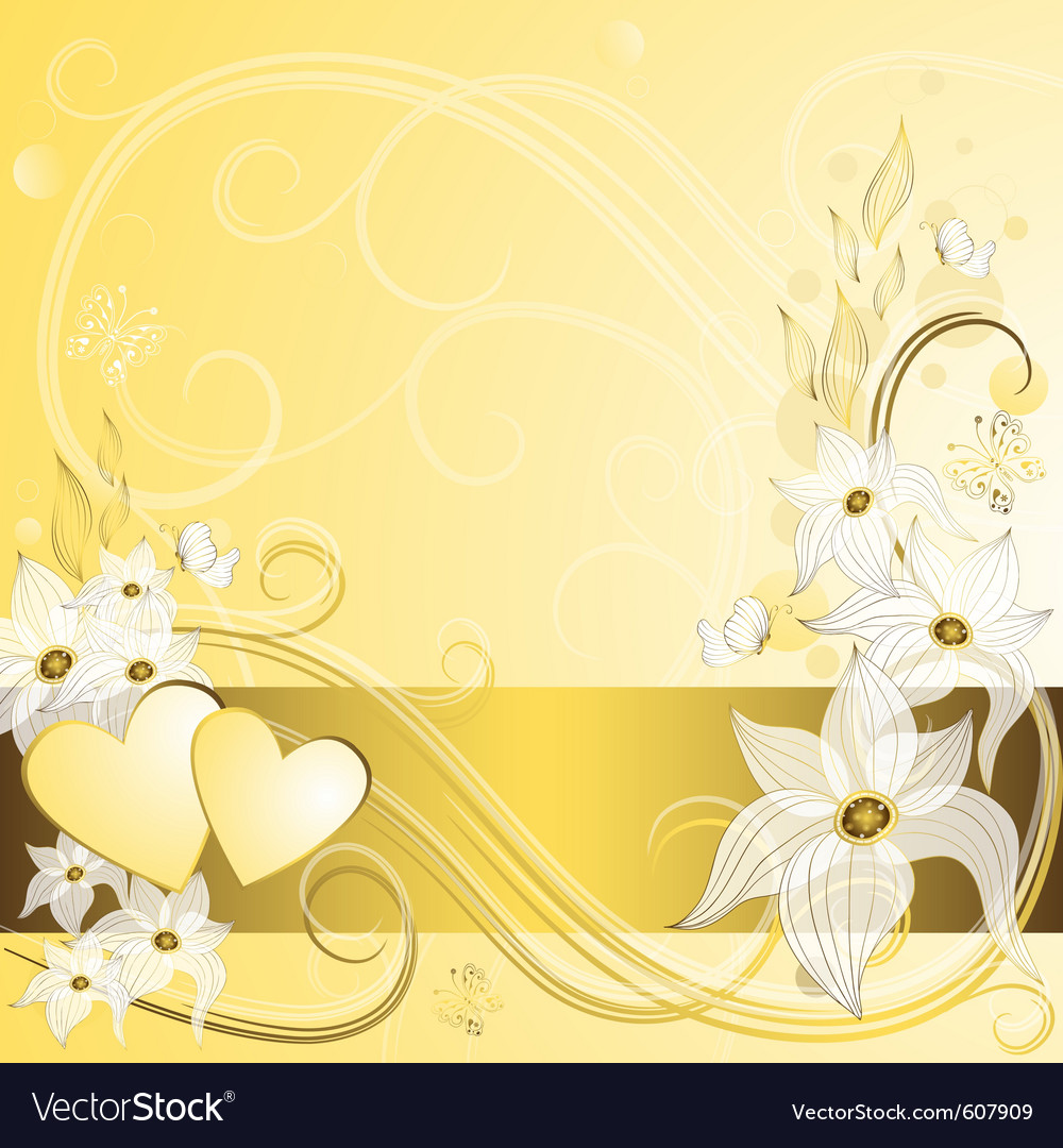 Gentle gold valentine frame with hearts and vintag vector | Price: 1 Credit (USD $1)