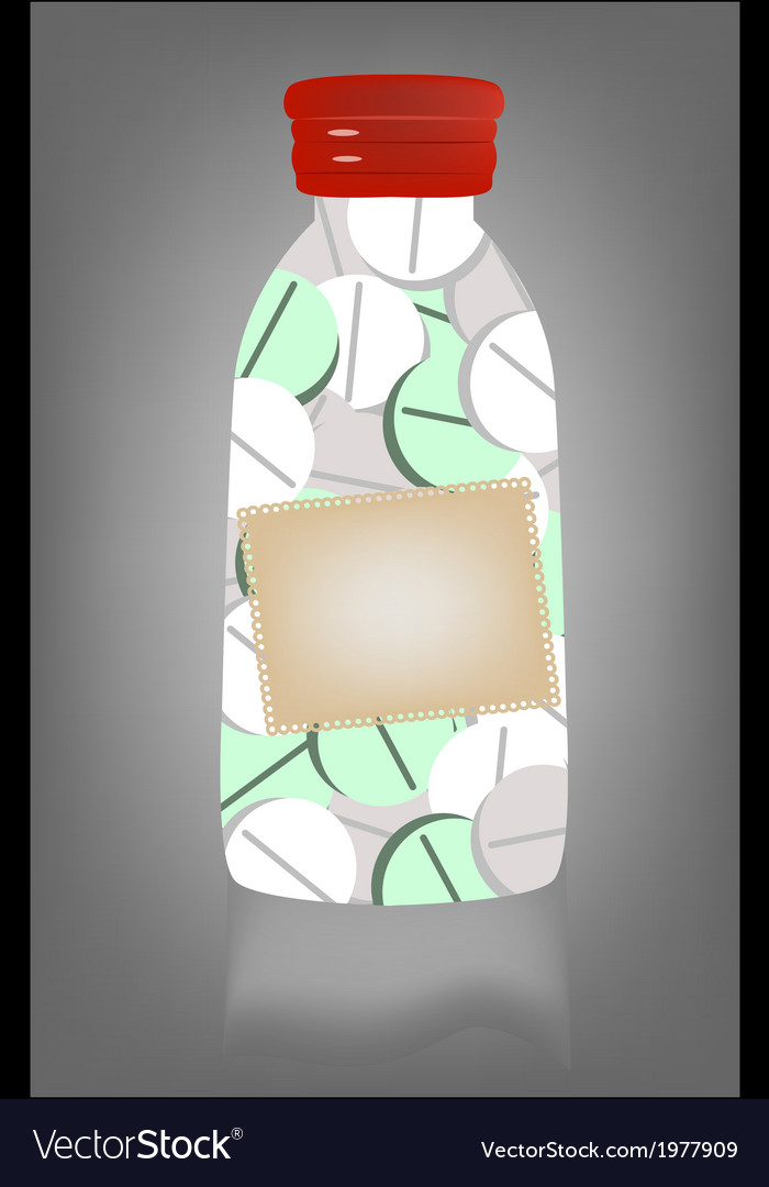 Medicine pill in transparent bottle vector | Price: 1 Credit (USD $1)