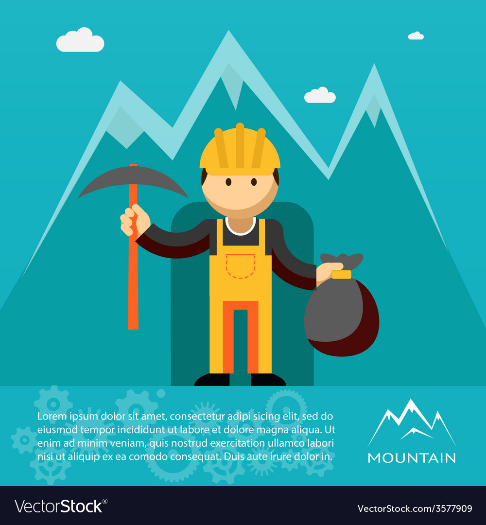 Mountain worker with pick and sack of gold vector | Price: 1 Credit (USD $1)