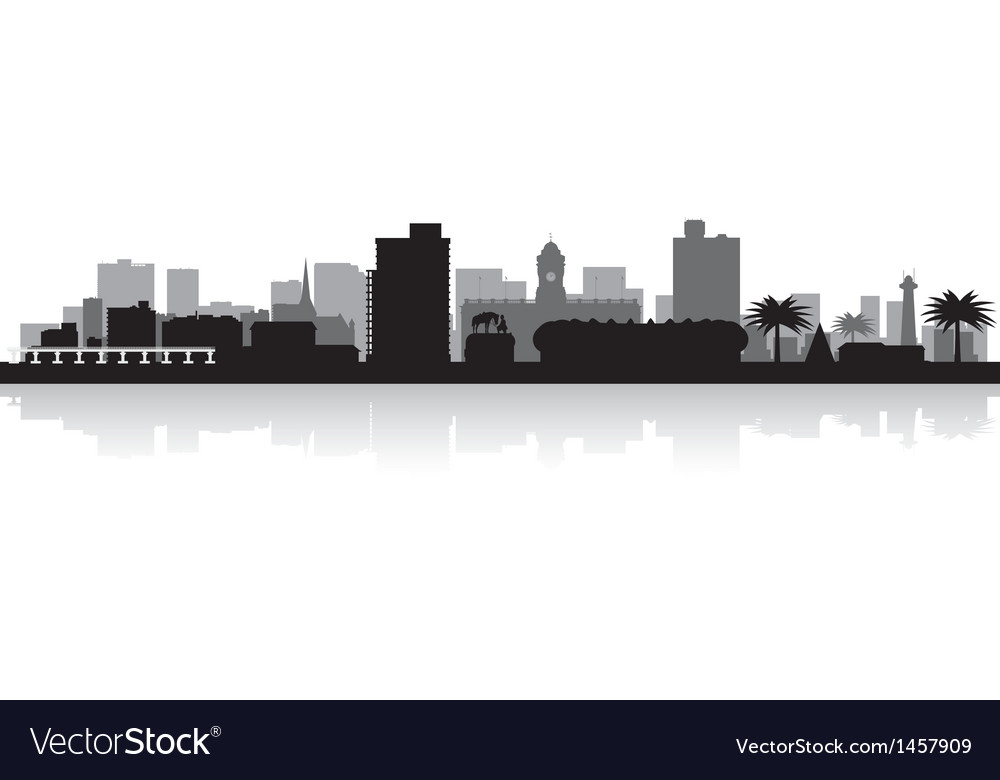 Port elizabeth city skyline silhouette vector | Price: 1 Credit (USD $1)