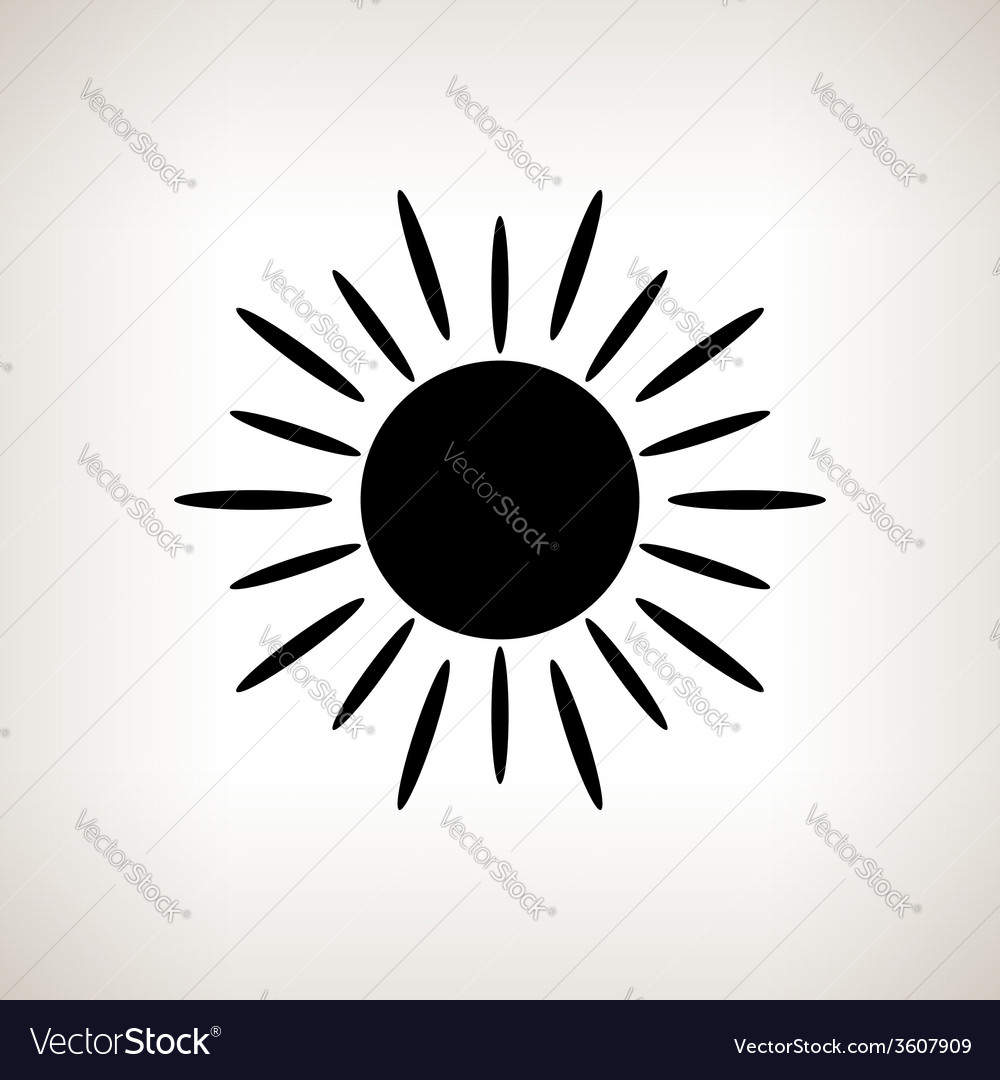 Silhouette sun with rays on a light background vector | Price: 1 Credit (USD $1)