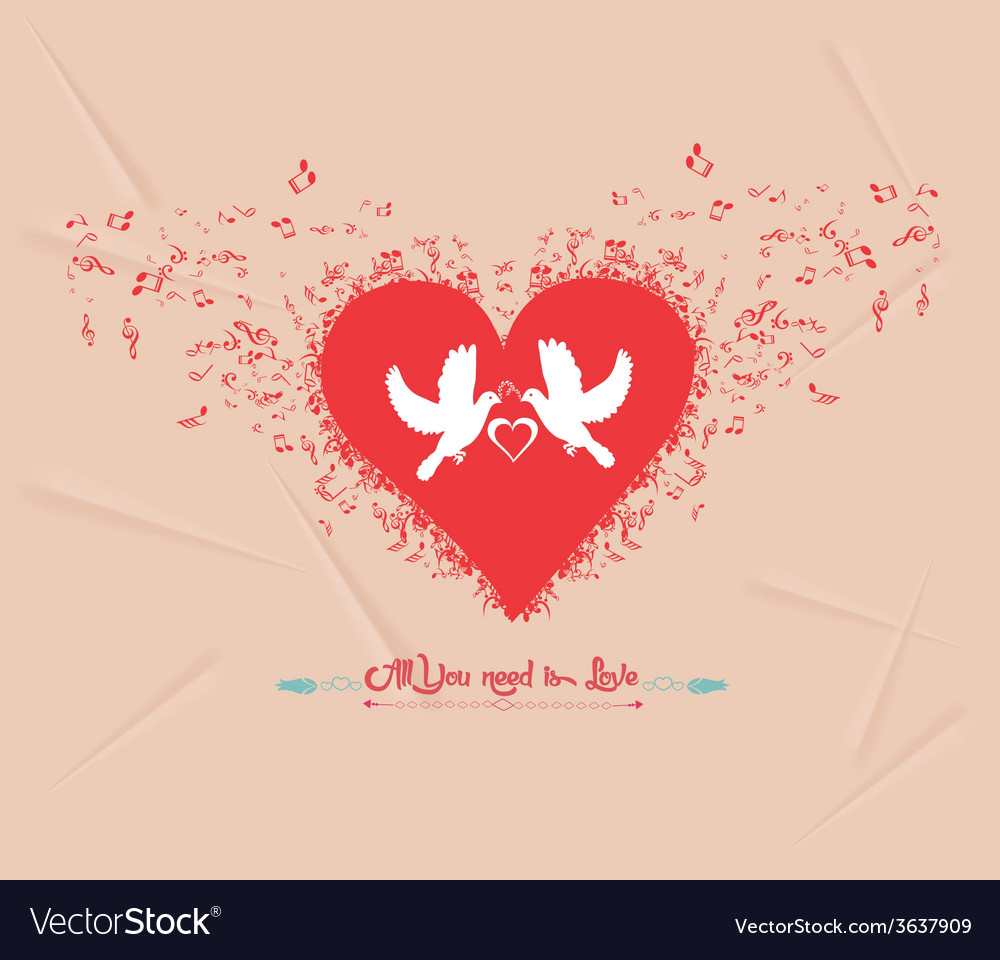 Valentines day music elements greeting card vector | Price: 1 Credit (USD $1)