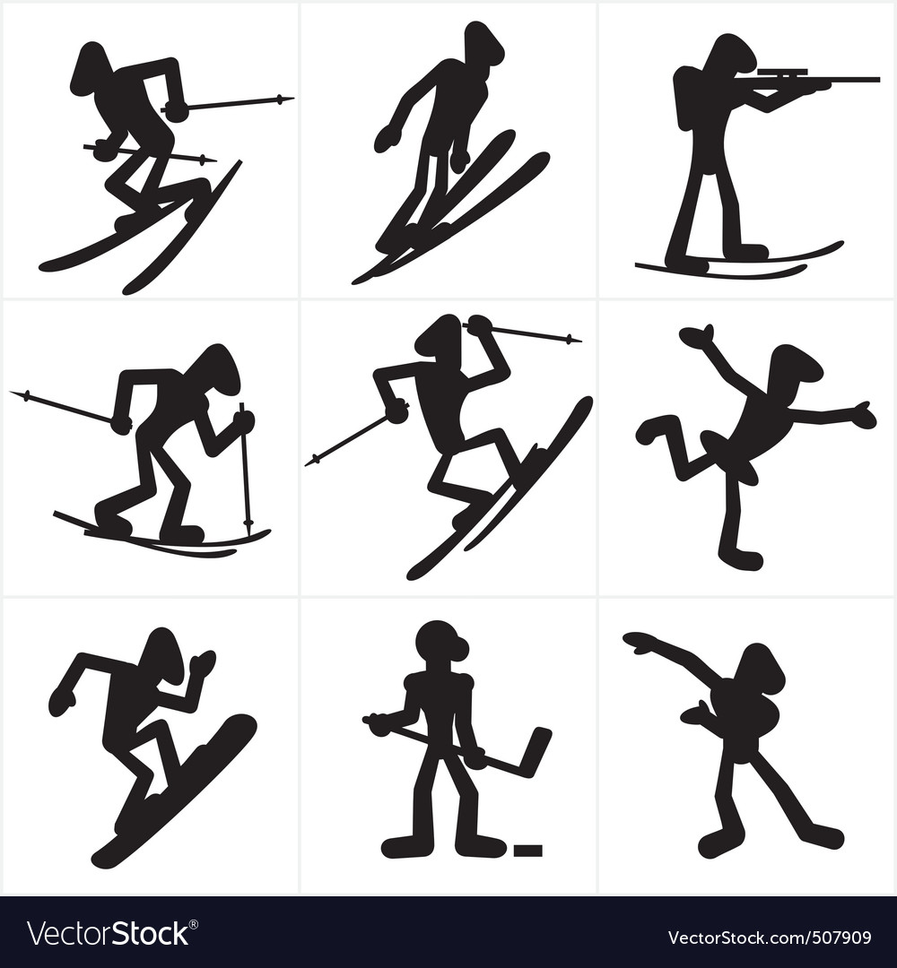 Winter sport icons vector | Price: 1 Credit (USD $1)