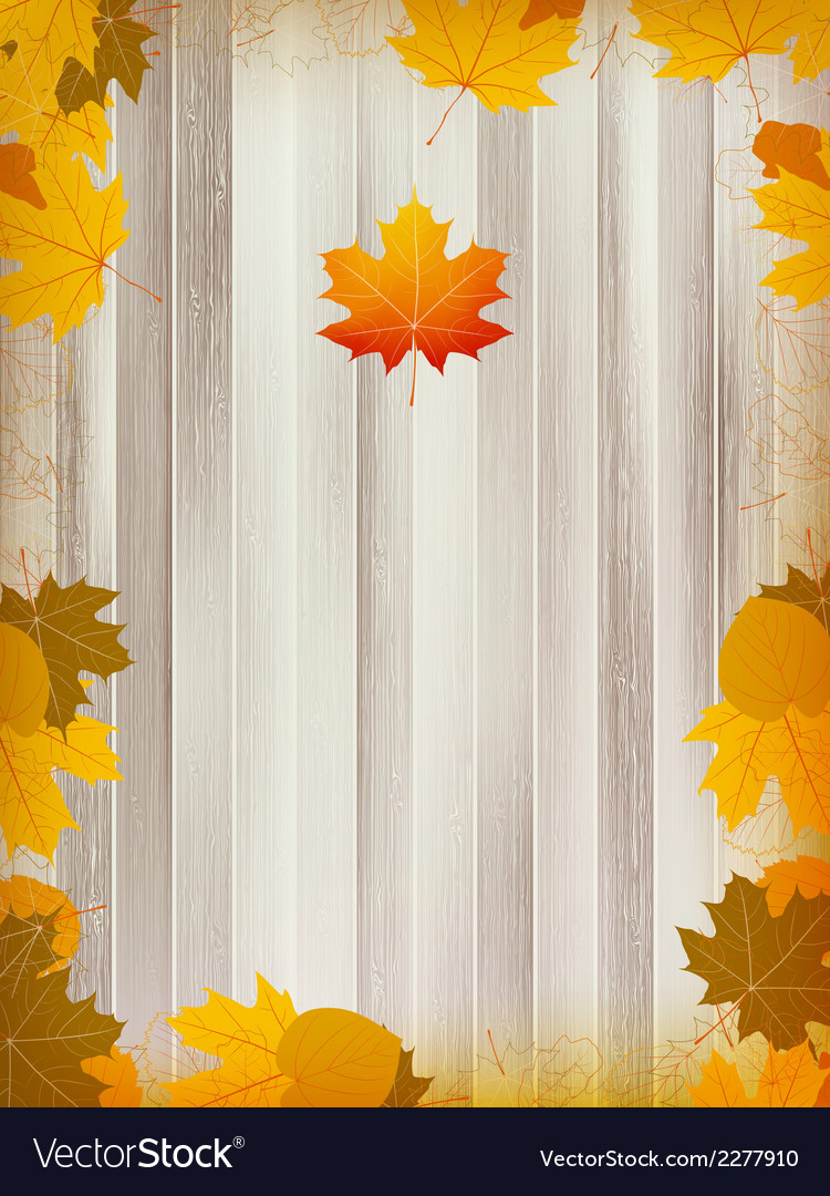 Autumn leaves on wooden background plus eps10 vector | Price: 1 Credit (USD $1)
