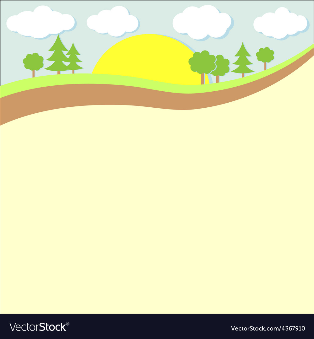 Background nature green trees and clouds vector | Price: 1 Credit (USD $1)