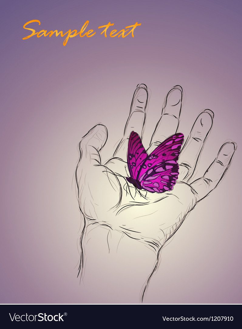 Background of a hand caring a butterfly vector   Price: 1 Credit (USD $1)