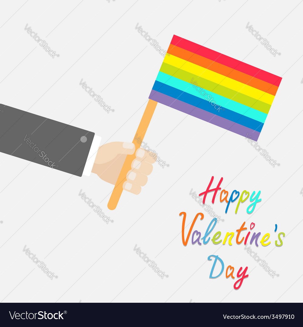 Businessman hand holding rainbow gay pride flag vector | Price: 1 Credit (USD $1)