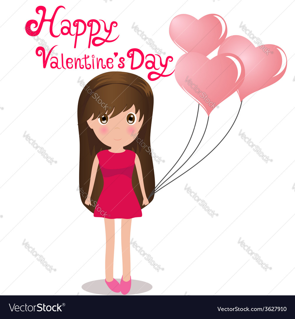 Cute girl happy valentines day holding balloons vector | Price: 1 Credit (USD $1)