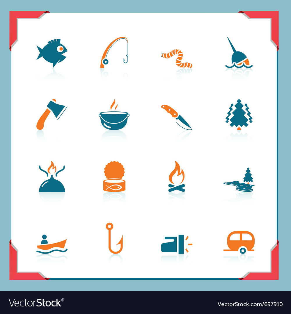 Fishing icons - in a frame series vector | Price: 1 Credit (USD $1)