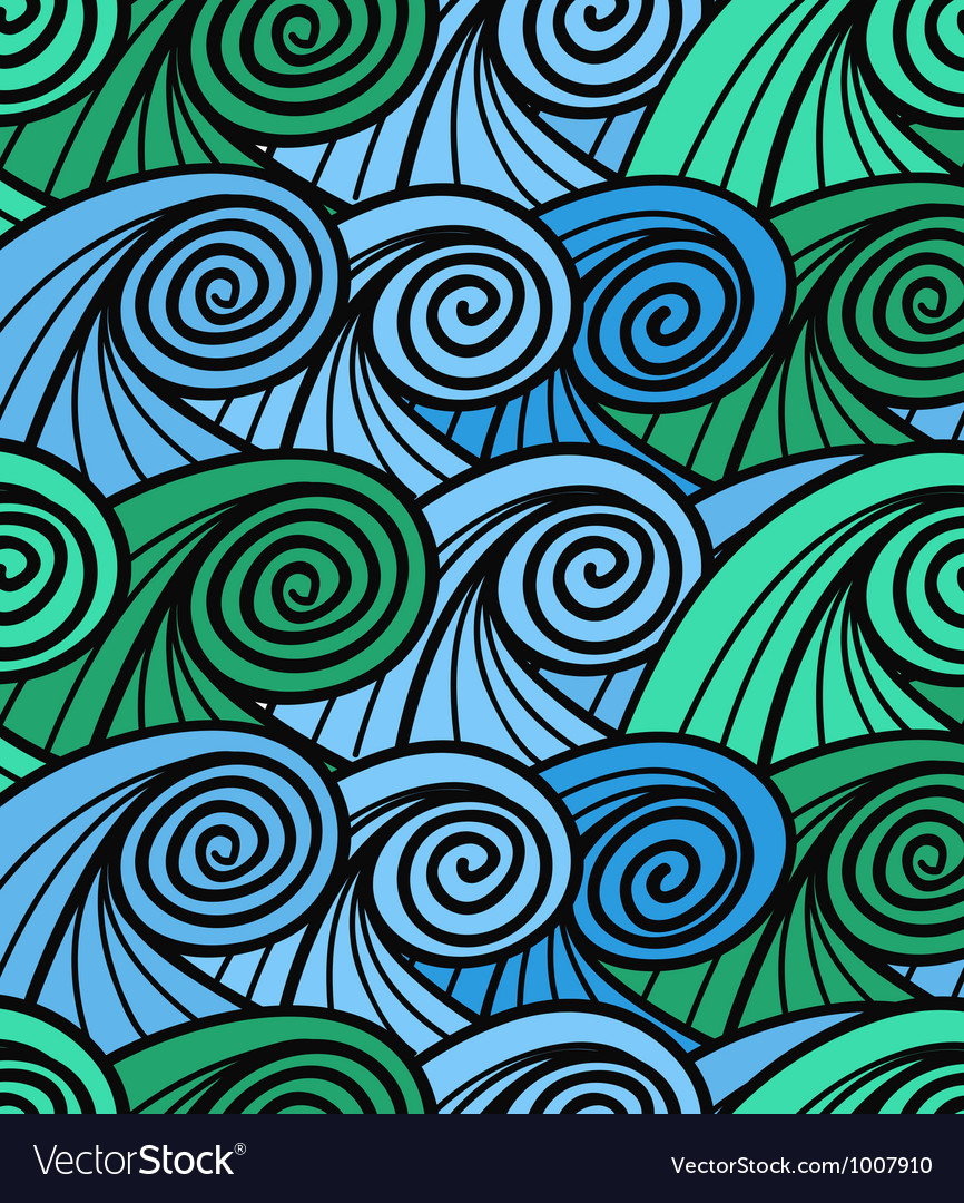 Seamless background of curled abstract blue waves vector | Price: 1 Credit (USD $1)