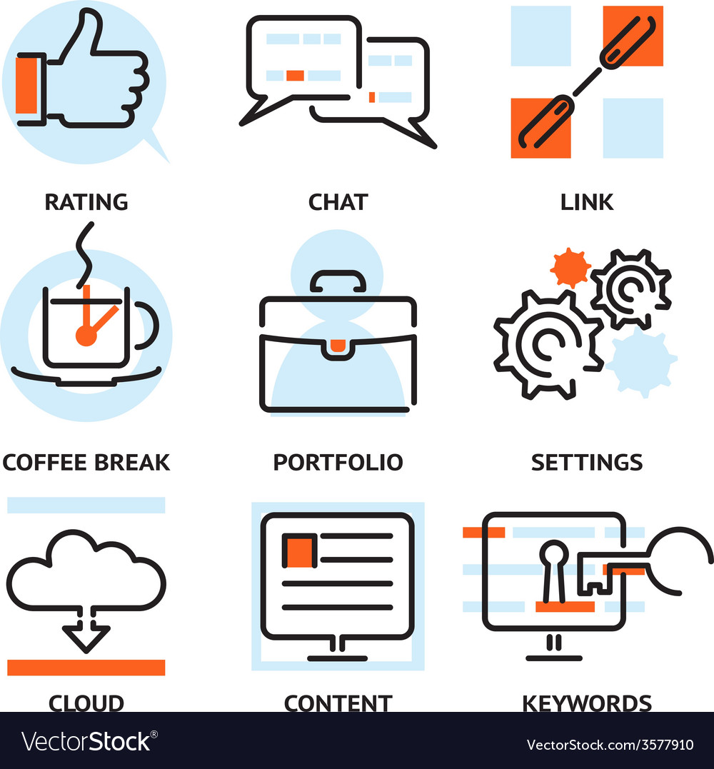 Set of seo contour icons vector | Price: 1 Credit (USD $1)