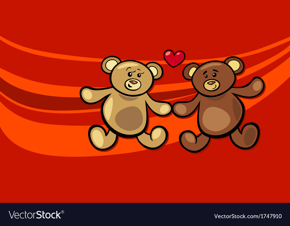 Teddy bears in love valentine card vector | Price: 1 Credit (USD $1)