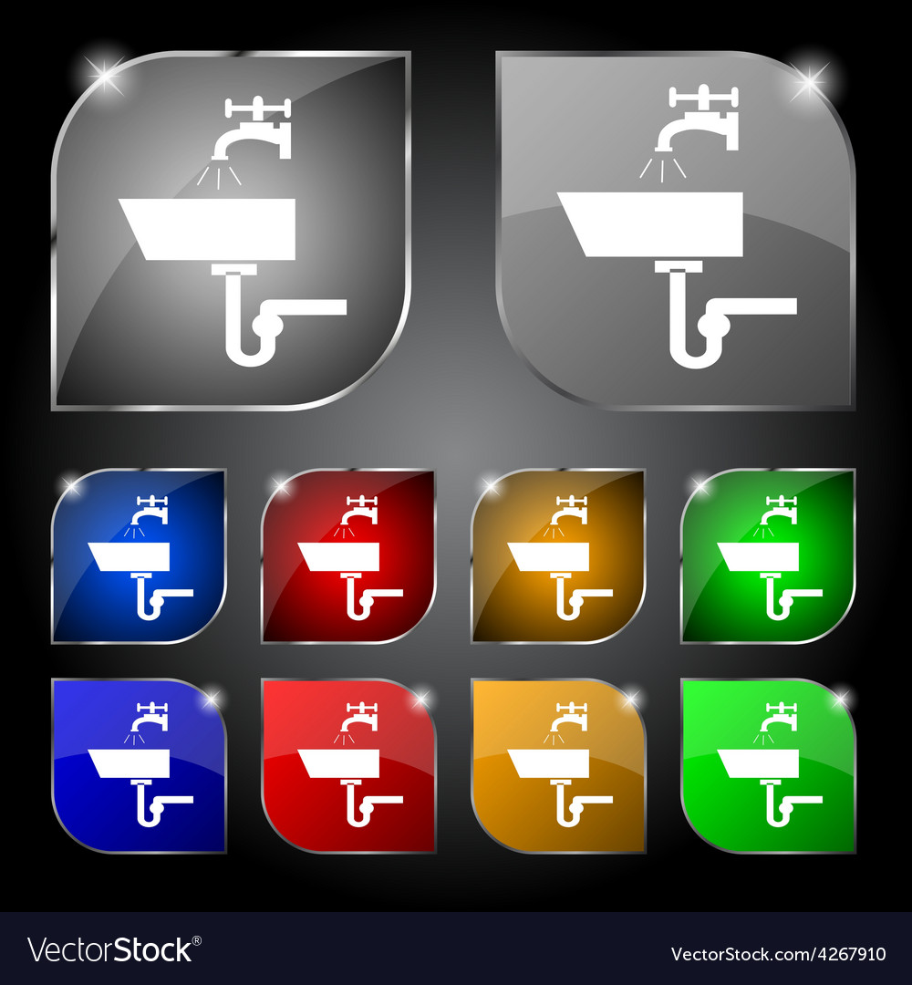 Washbasin icon sign set of ten colorful buttons vector | Price: 1 Credit (USD $1)