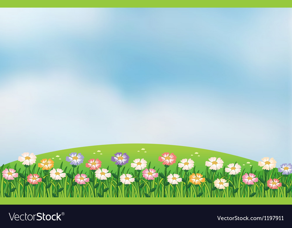 A view of the hill with flowers vector | Price: 1 Credit (USD $1)