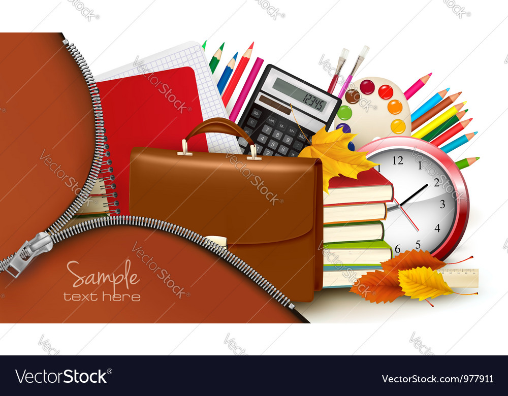 Background with school supplies and open zipper vector | Price: 3 Credit (USD $3)