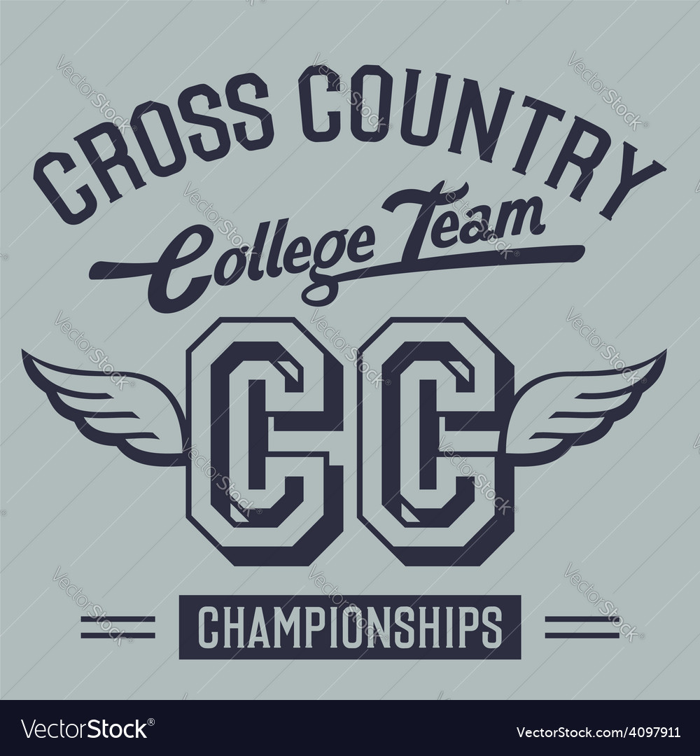 Cross country college team t-shirt design vector | Price: 1 Credit (USD $1)