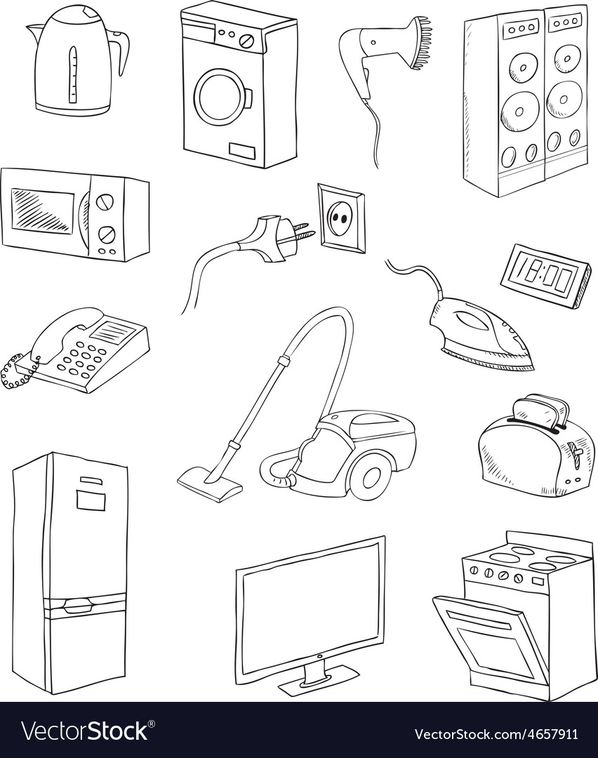 Everyday household appliances set vector   Price: 1 Credit (USD $1)
