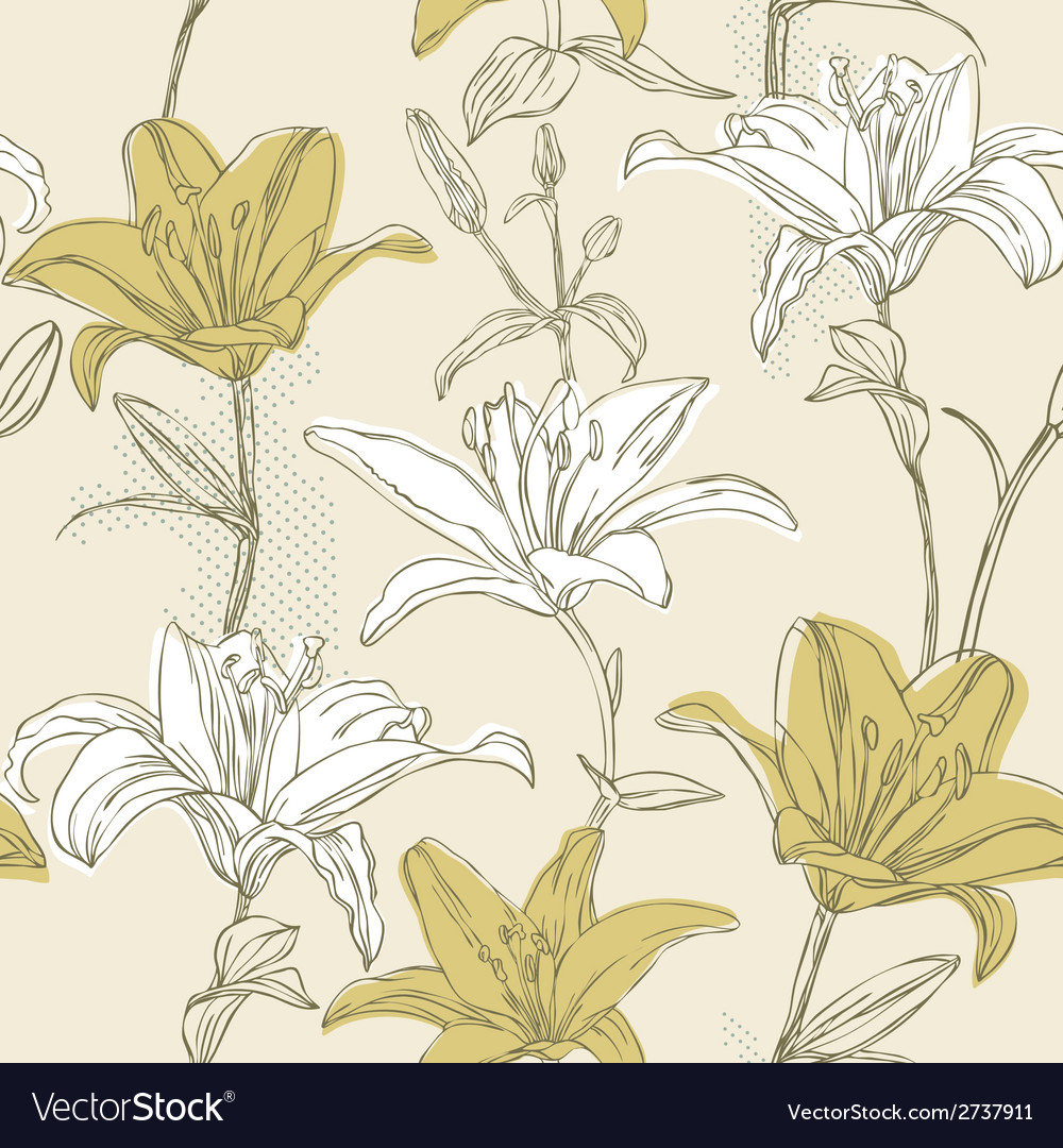 Floral seamless pattern with lily vector | Price: 1 Credit (USD $1)