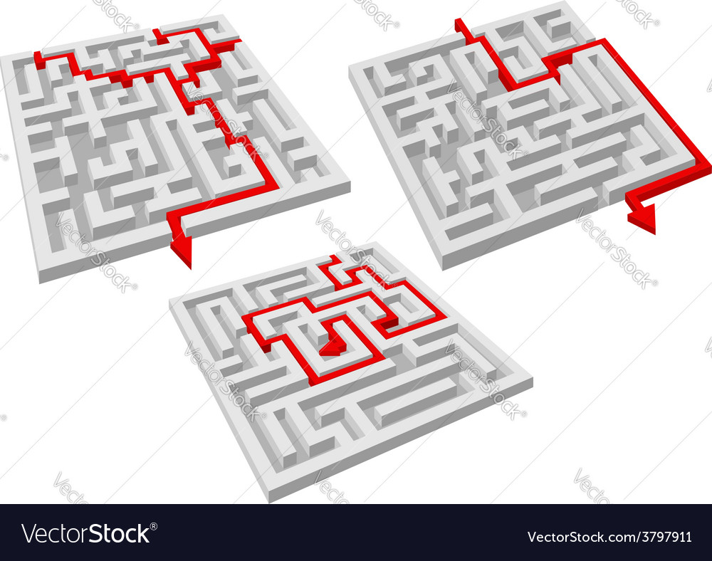 Labyrinth puzzles with arrow solutions vector | Price: 1 Credit (USD $1)