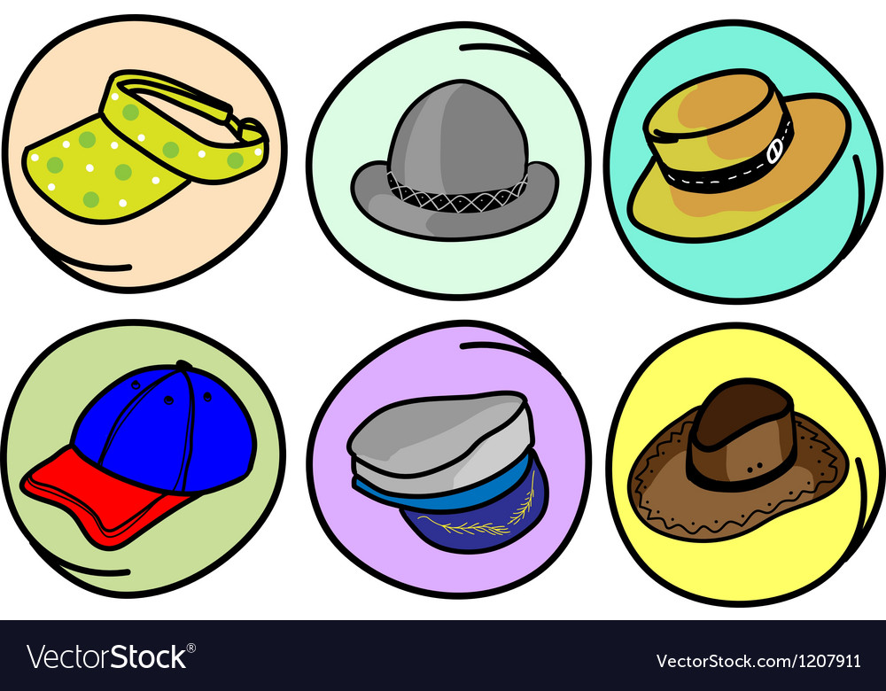 Set of hats and caps on round background vector | Price: 1 Credit (USD $1)