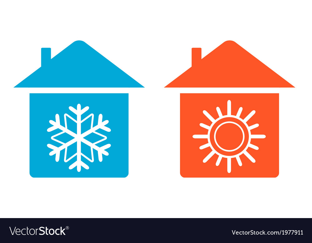Set warm and cold in home icon vector | Price: 1 Credit (USD $1)