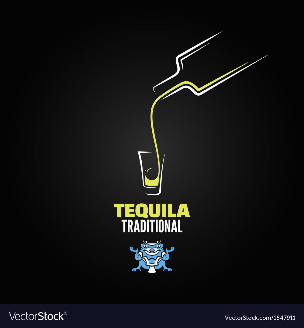 Tequila shot bottle glass menu design background vector | Price: 1 Credit (USD $1)