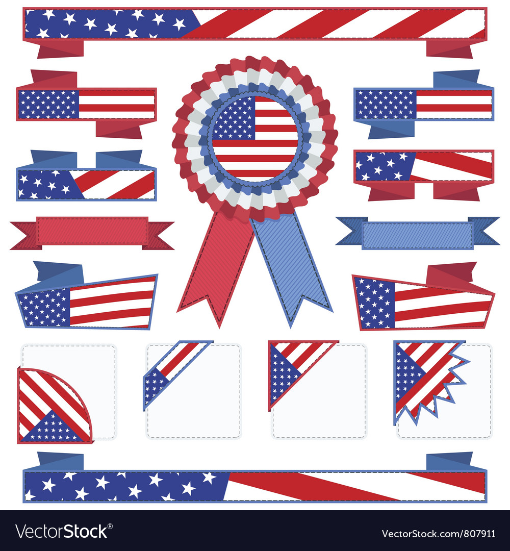 Usa stitched ribbons vector | Price: 1 Credit (USD $1)