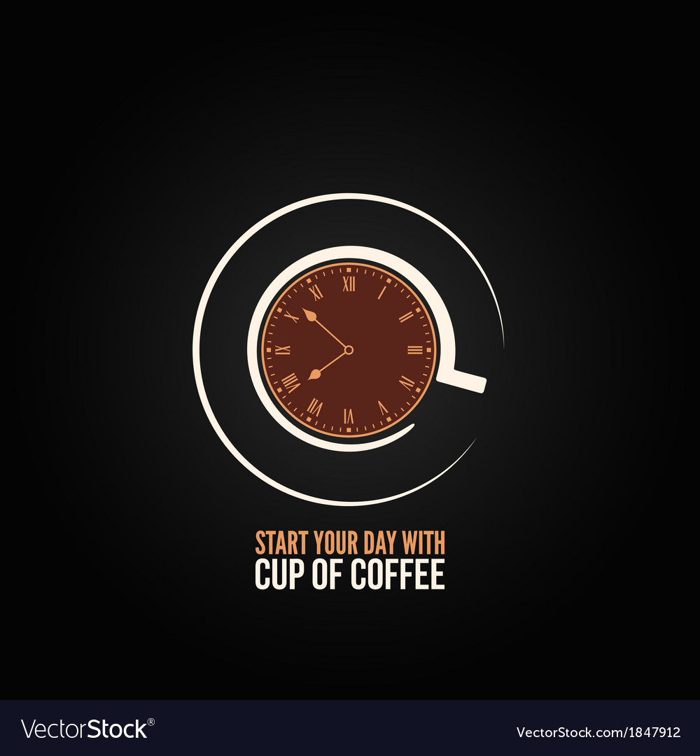 Coffee cup time clock concept design background vector | Price: 1 Credit (USD $1)
