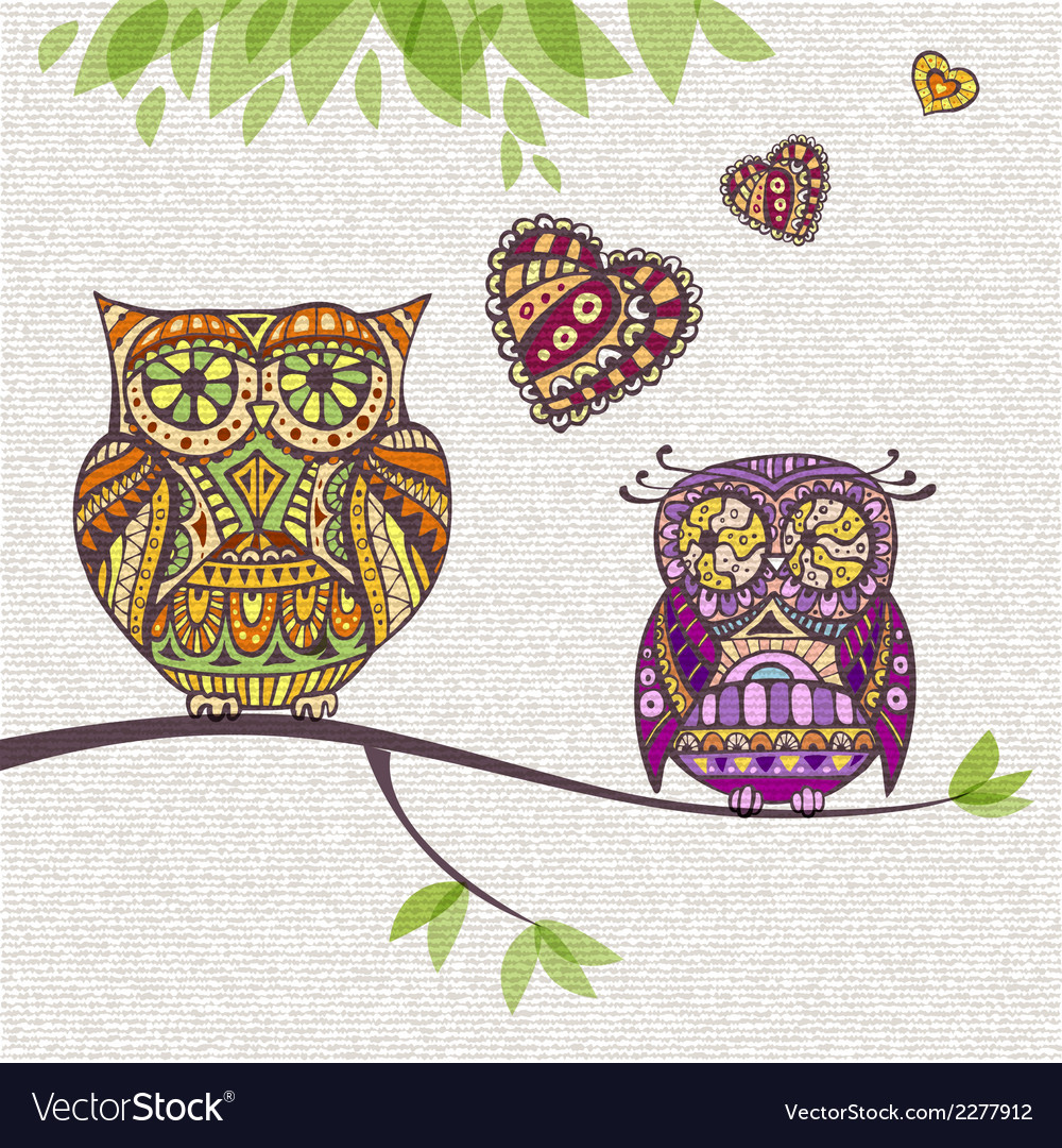 Decorative owl couple and love vector | Price: 1 Credit (USD $1)