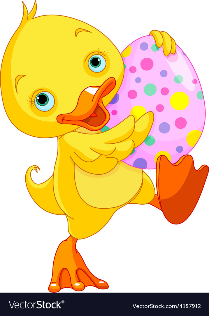 Easter duckling carry egg vector | Price: 3 Credit (USD $3)