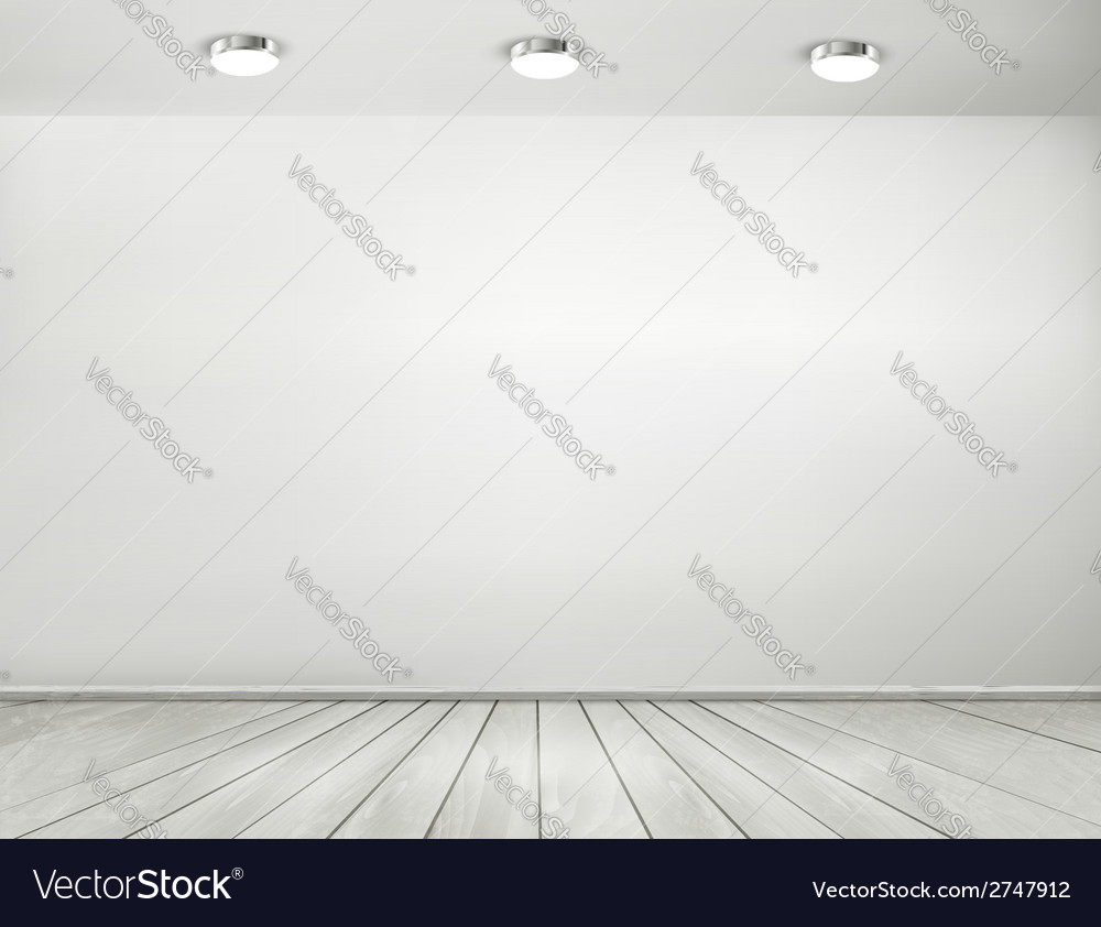 Grey room spotlights and wooden floor showroom vector | Price: 1 Credit (USD $1)