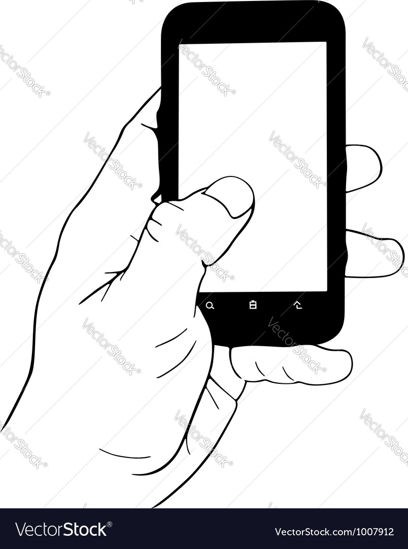 Hand holding mobile phone vector | Price: 1 Credit (USD $1)