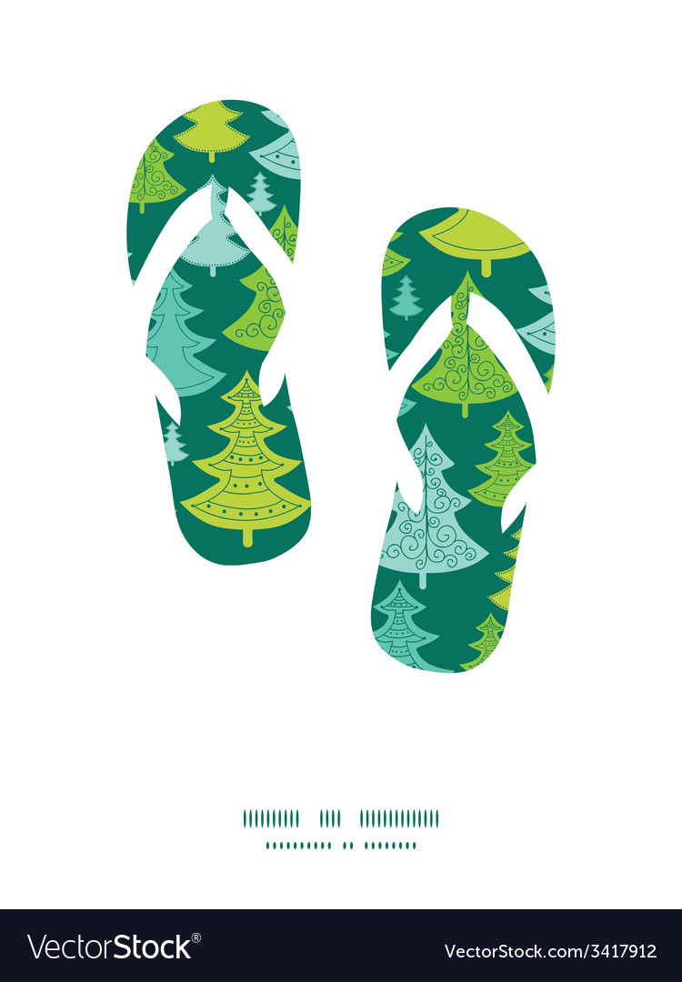 Holiday christmas trees flip flops silhouettes vector | Price: 1 Credit (USD $1)