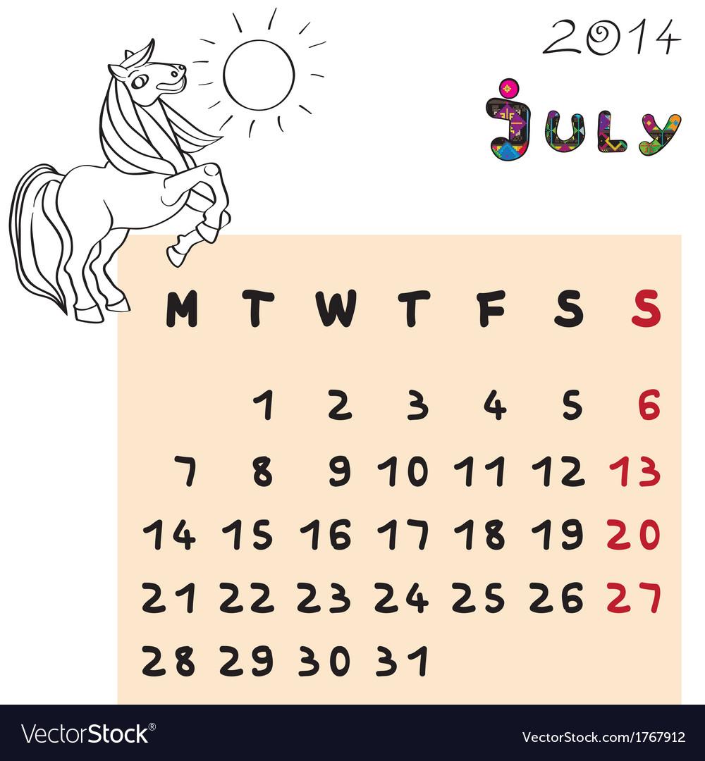 Horse calendar 2014 july vector   Price: 1 Credit (USD $1)