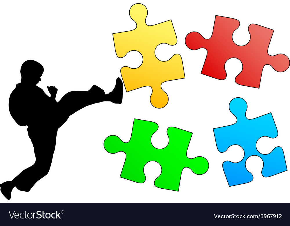 Jigsaw puzzle silhouette of karate breaks leg vector | Price: 1 Credit (USD $1)