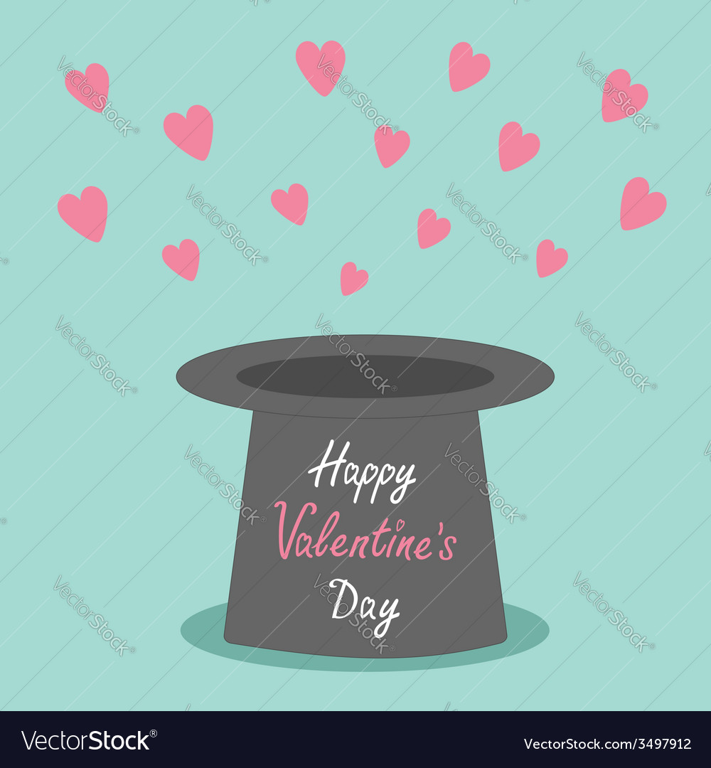 Magic black hat with flying pink hearts on blue vector | Price: 1 Credit (USD $1)