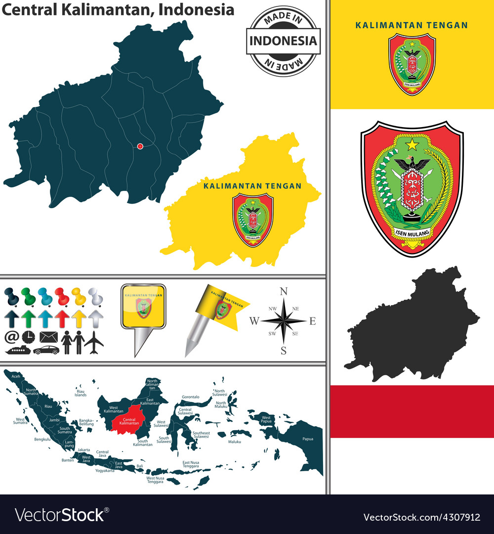 Map of central kalimantan vector | Price: 1 Credit (USD $1)