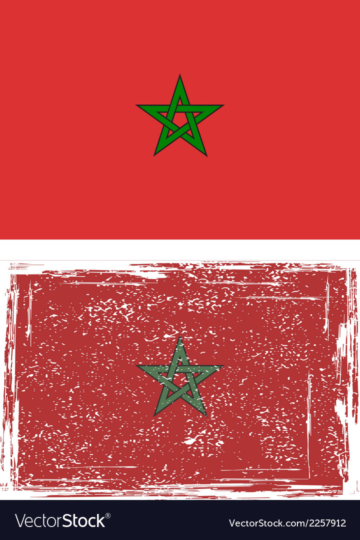 Moroccan grunge flag vector | Price: 1 Credit (USD $1)