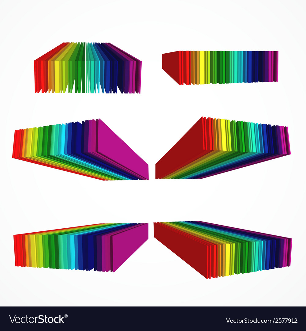 Rainbow colored 3d barcode set vector | Price: 1 Credit (USD $1)
