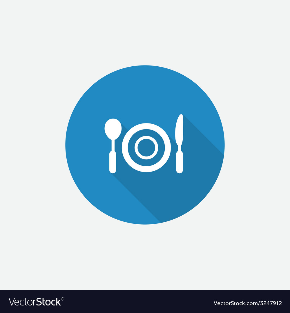 Restaurant flat blue simple icon with long shadow vector | Price: 1 Credit (USD $1)