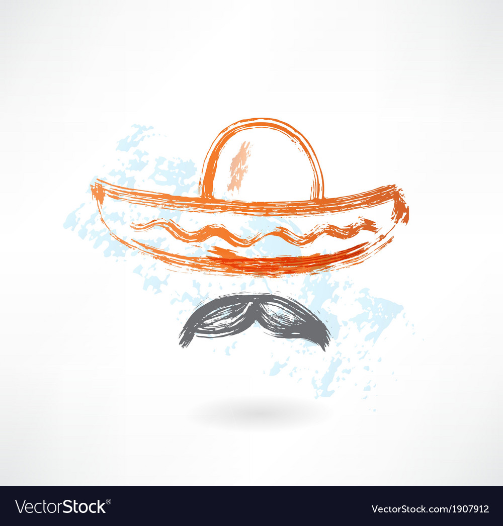Sombrero grunge icon vector | Price: 1 Credit (USD $1)
